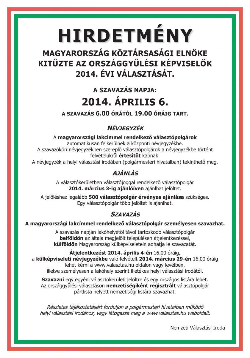 Országgyűlési képviselő választás 2014. hirdetmény 824dded598